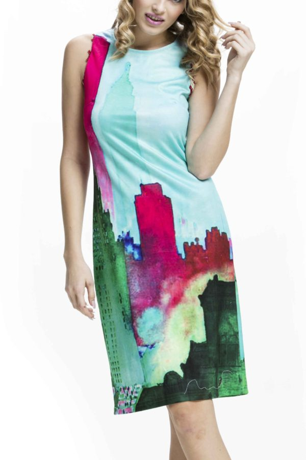 Pestrobarevnédámské šaty Culito from Spain s motivemměsta