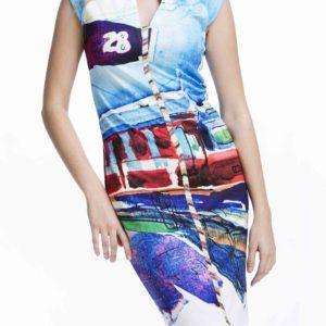 Stylové dámské šaty Culito from Spain s motivem vlaku