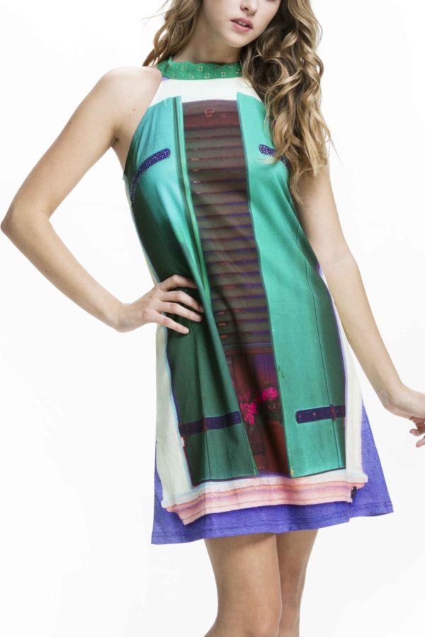 Designovédámské šaty Culito from Spain smotivem zeleného okna